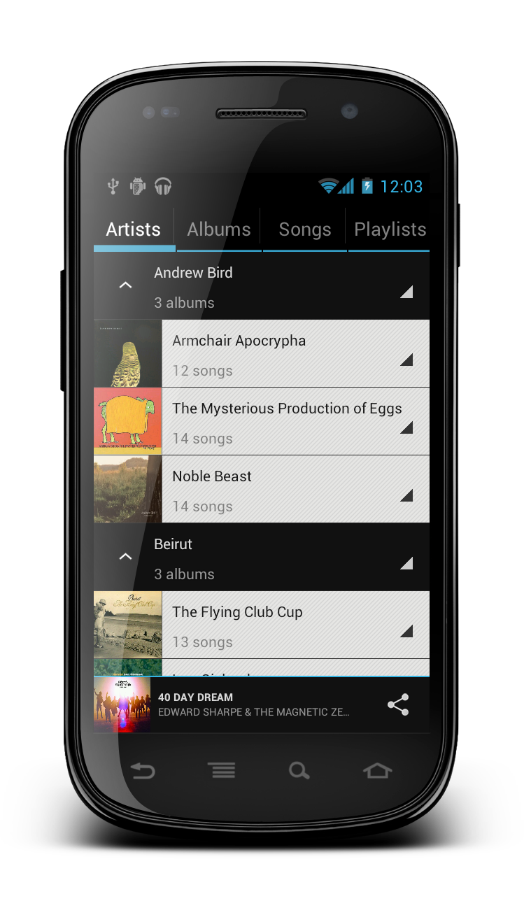 Apollo CyanogenMod 9 screen