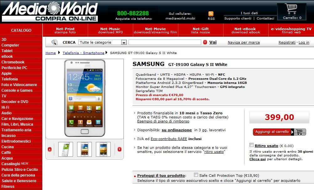 Samsung Galaxy S2 bianco, in offerta su Mediaworld a 399 euro