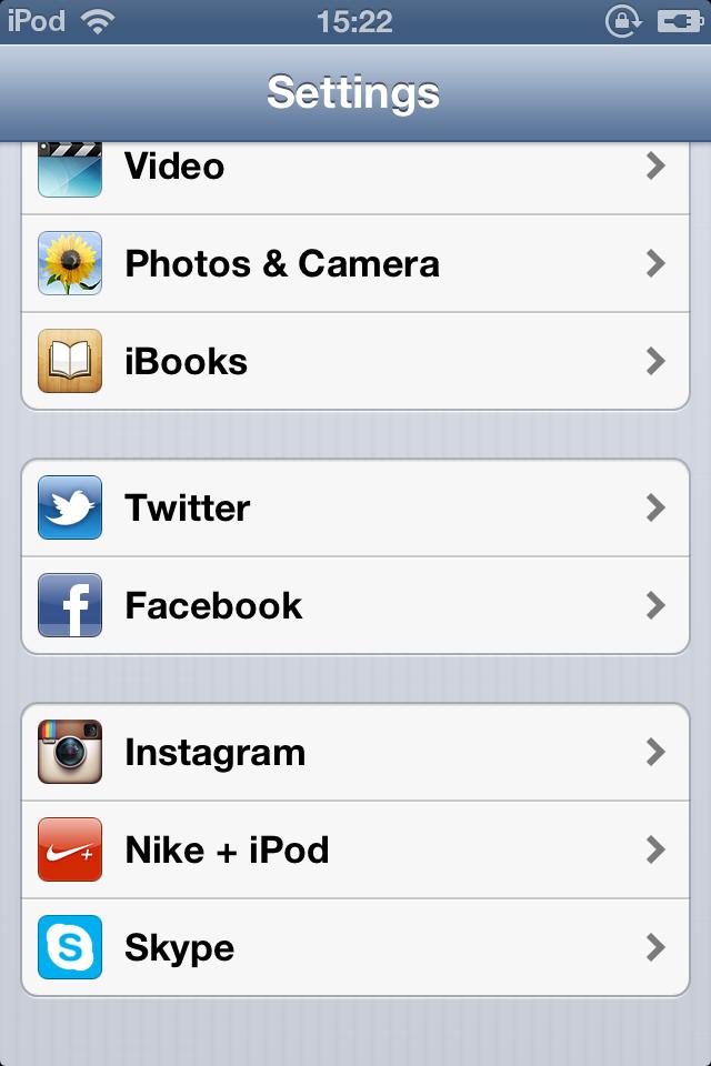 Impostazioni iOS 6
