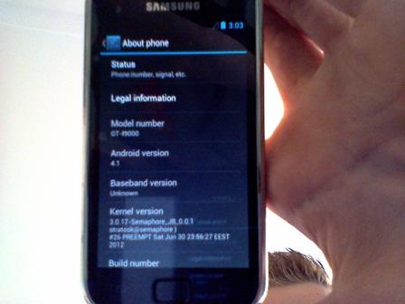 Jelly Bean Galaxy S i9000 screen