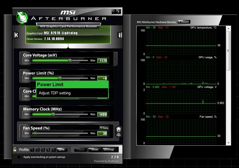 MSI Afterburner screen