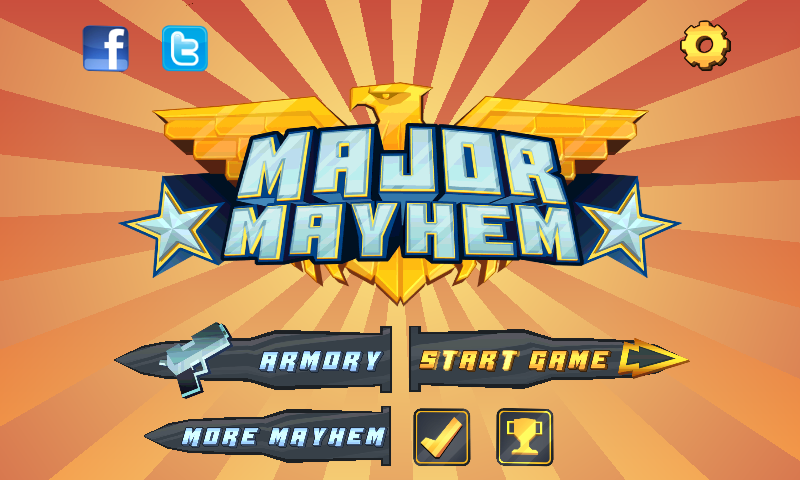Major Mayhem Start Screen