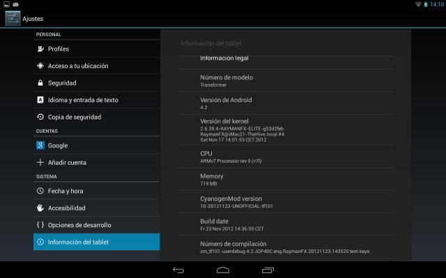 ASUS TF101 Android 4.2