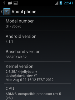 Galaxy Next CyanogenMod 10 screen