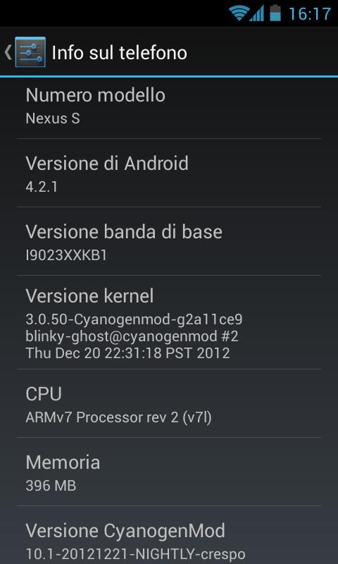 Nexus S CM10.1 Info