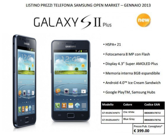 Galaxy S2 Plus prezzo italia