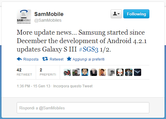 Android 4.2.1 per Galaxy S3