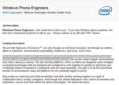Annuncio Intel Windows