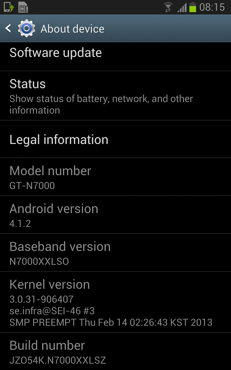 Galaxy Note Android Jelly Bean 4.1.2