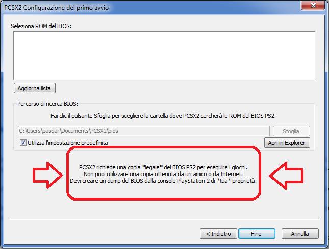 Configurazione BIOS PCSX2