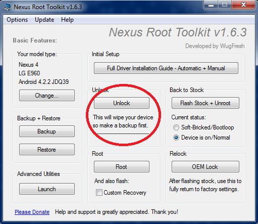 Nexus 4 toolkit-Sblocco-Bootloader