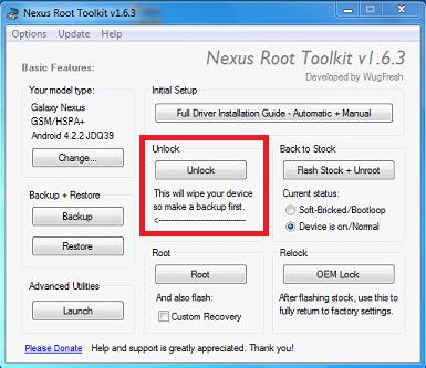 Nexus-Root-Toolkit-Sblocco-Bootloader