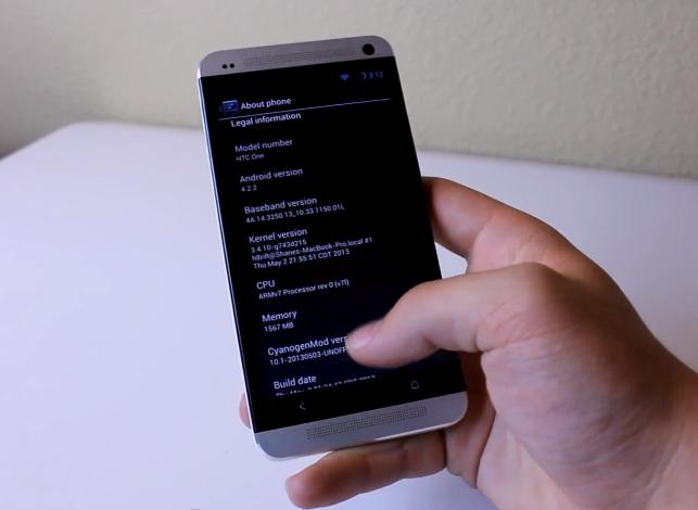 HTC One CyanogenMod 10.1