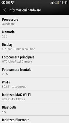 HTC One specifiche tecniche