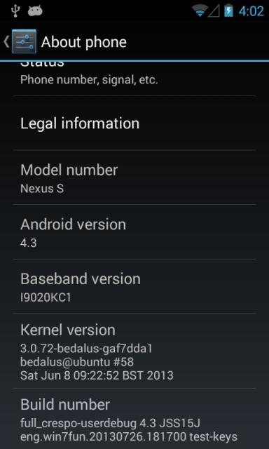 Android 4.3 su Google Nexus S