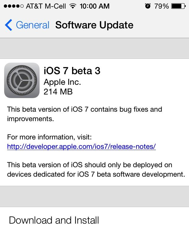 Apple iOS 7 Beta 3 Download