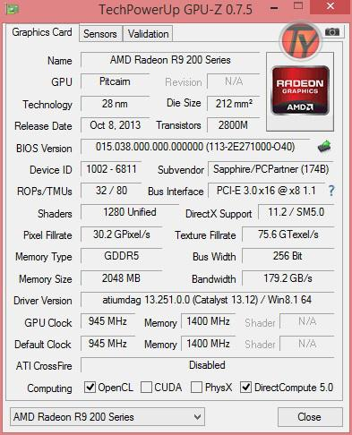 Sapphire R9 270 OC Dual-X-GPU-Z