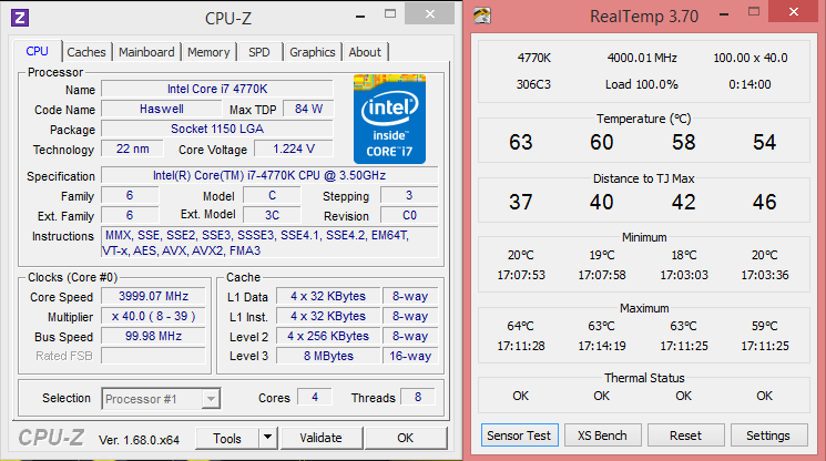 4 Ghz real temp- Cpu z