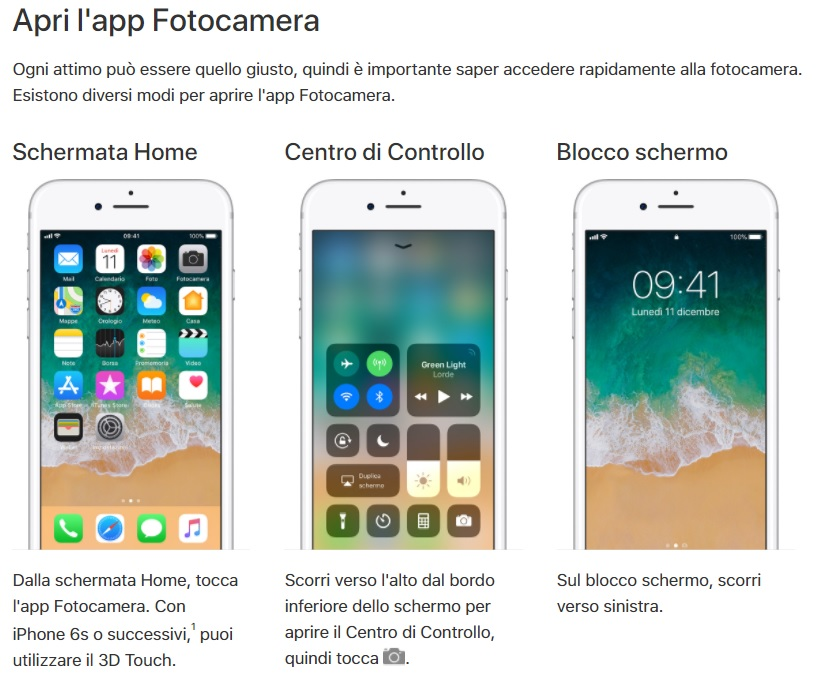 Apri fotocamera iPhone