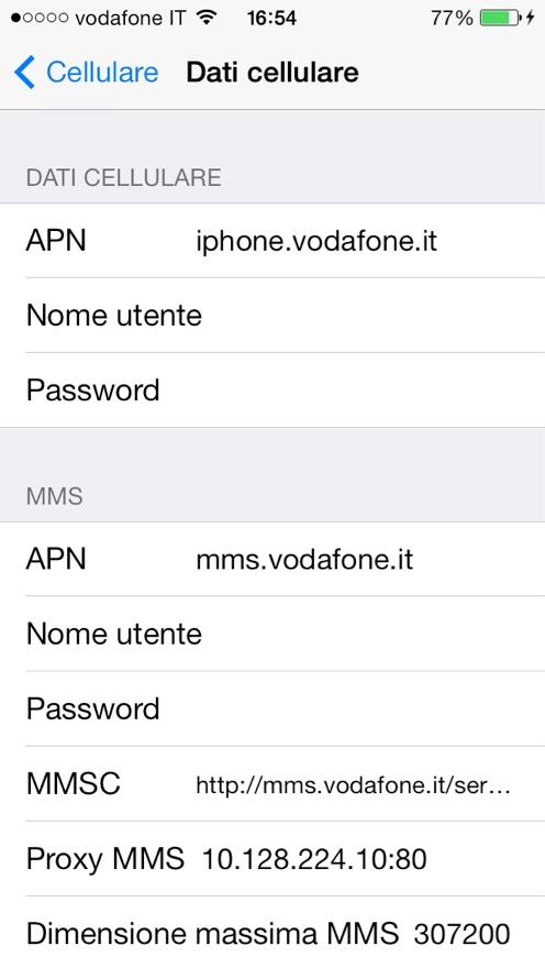 Vodafone Dati APN iPhone