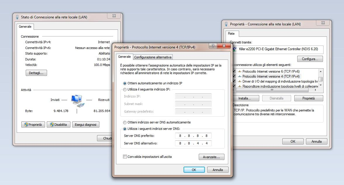 Impostare DNS su Windows