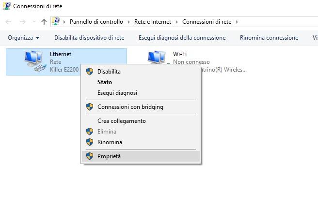 Proprietà connessione di rete Windows 10