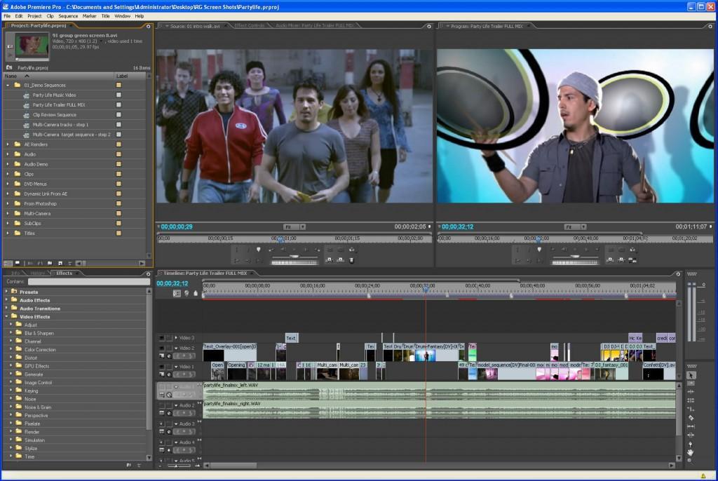 una anteprima di Adobe Premiere