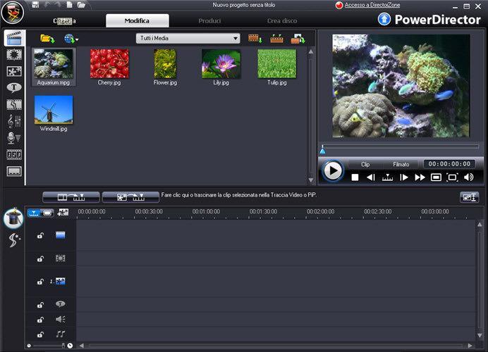 schermata di avvio di Cyberlink powerdirector