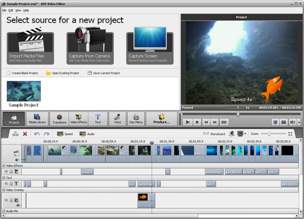 schermata principale avs video editor