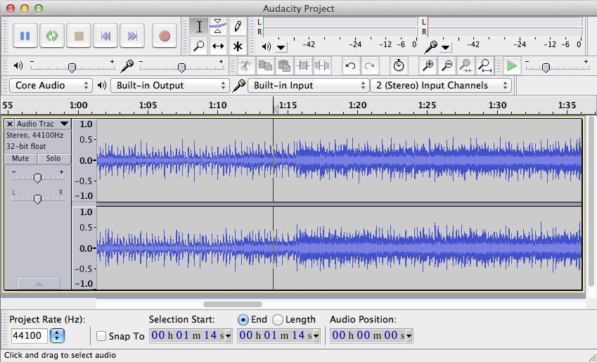 screen e utiilizzo del programma chiamato audacity