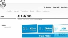 All In 300 di Tre Italia con 3 Gb di Internet 300 minuti e 300 SMS a 5€ al mese