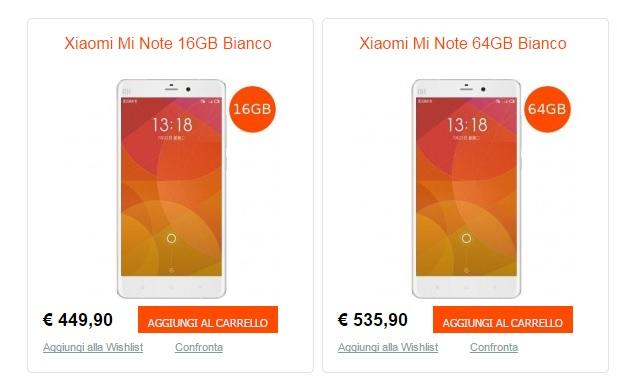 Xiaomi Mi Note prezzo Italia