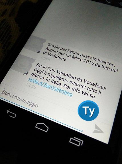 Promo San Valentino Vodafone SMS