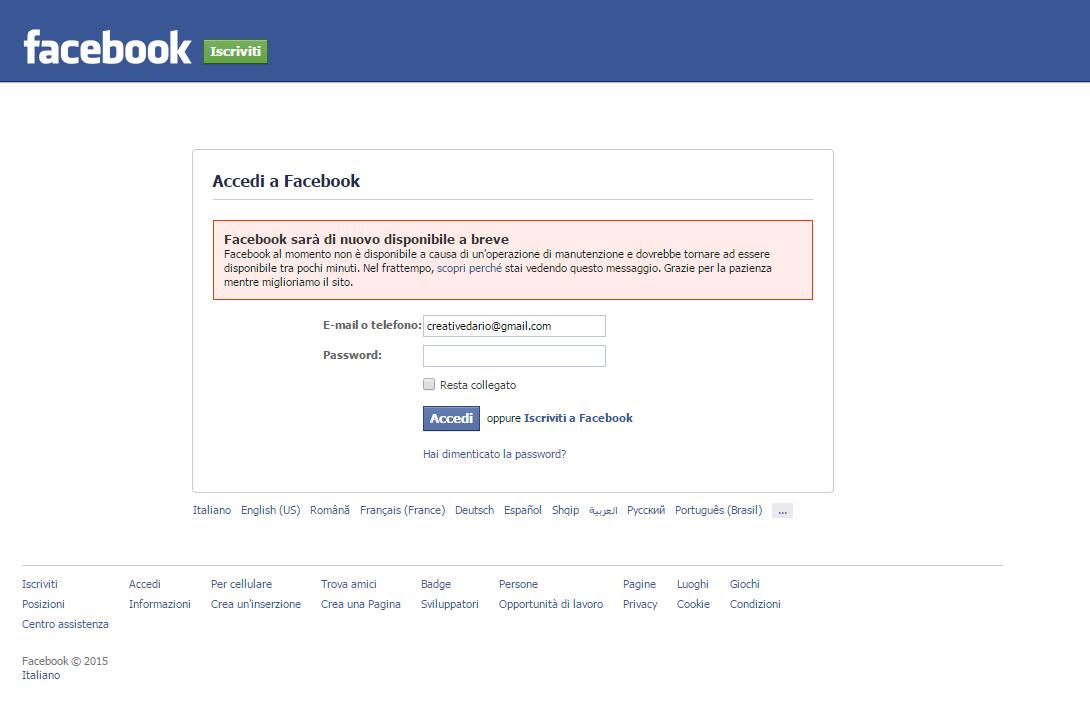 Facebook non funziona impossibile effettuare login