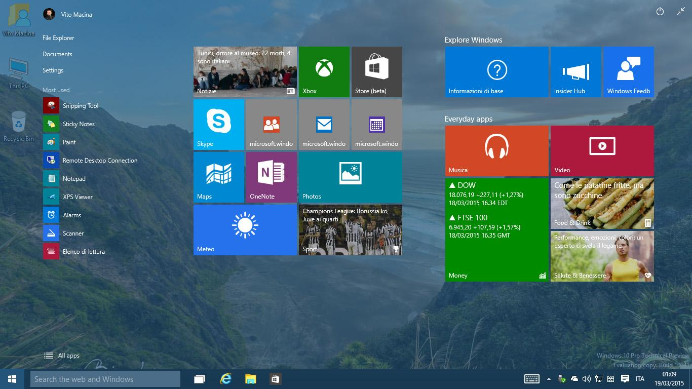 Start Screen Windows 10 TP