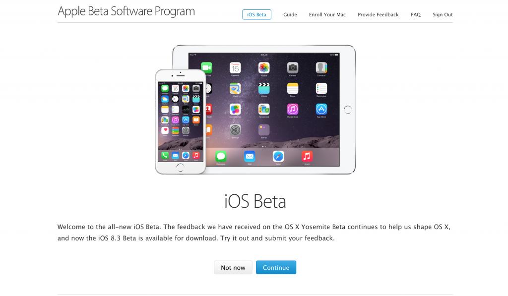 Installare iOS Beta 8.3