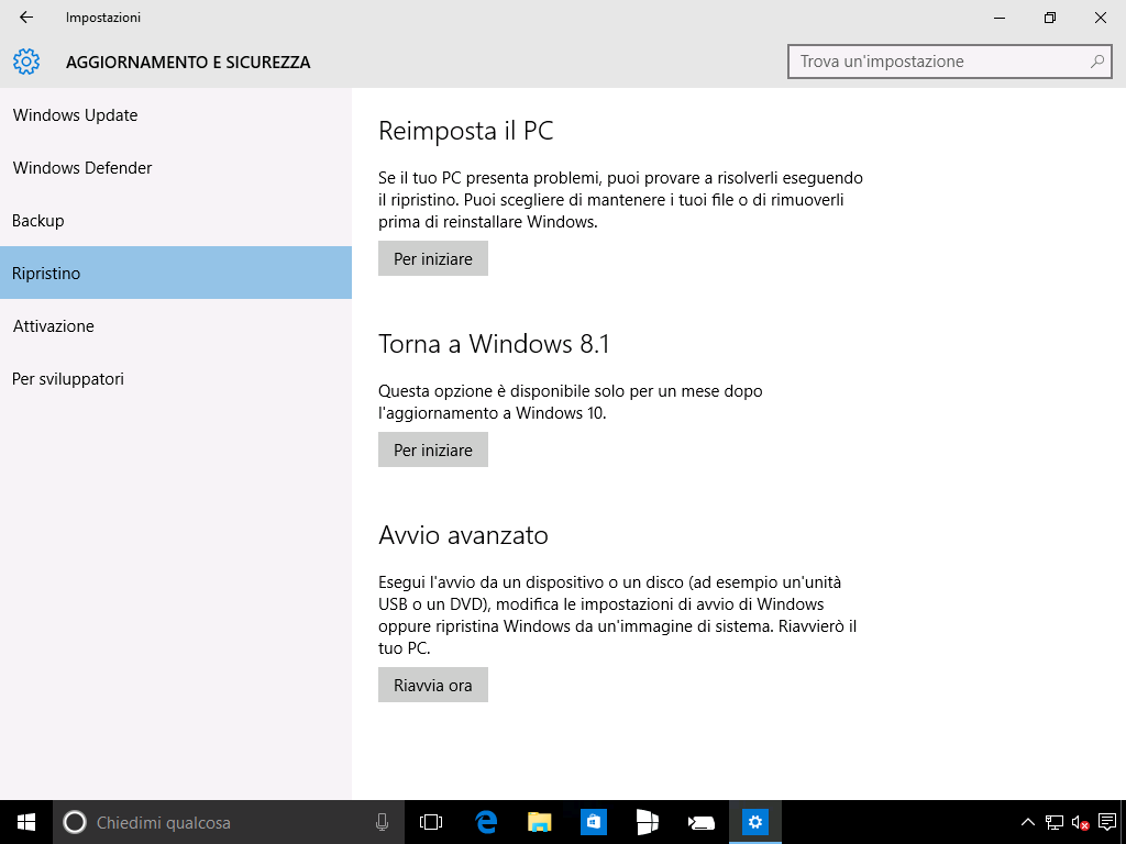 Ripristino Windows 8.1 da Windows 10