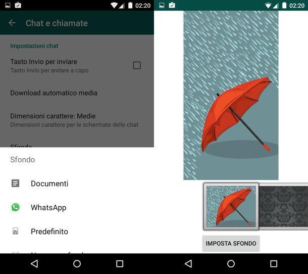 Come cambiare sfondo Whatsapp su Android
