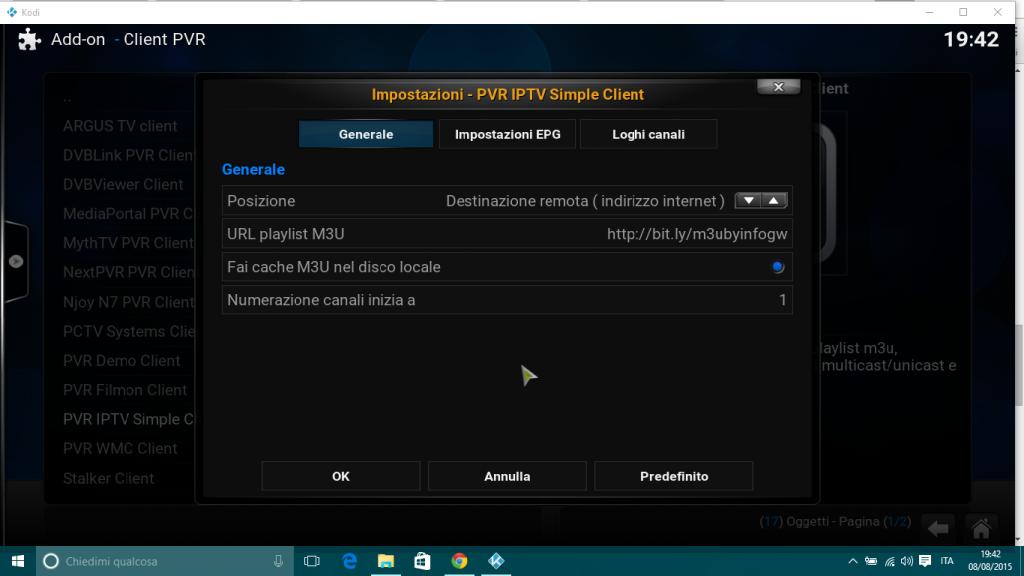 Configurazione IPTV KODI