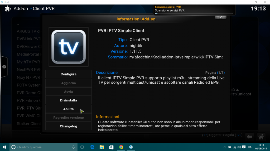 abilita IPTV KODI