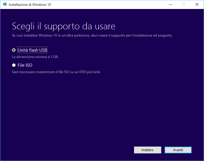 Creazione supporto per Windows 10