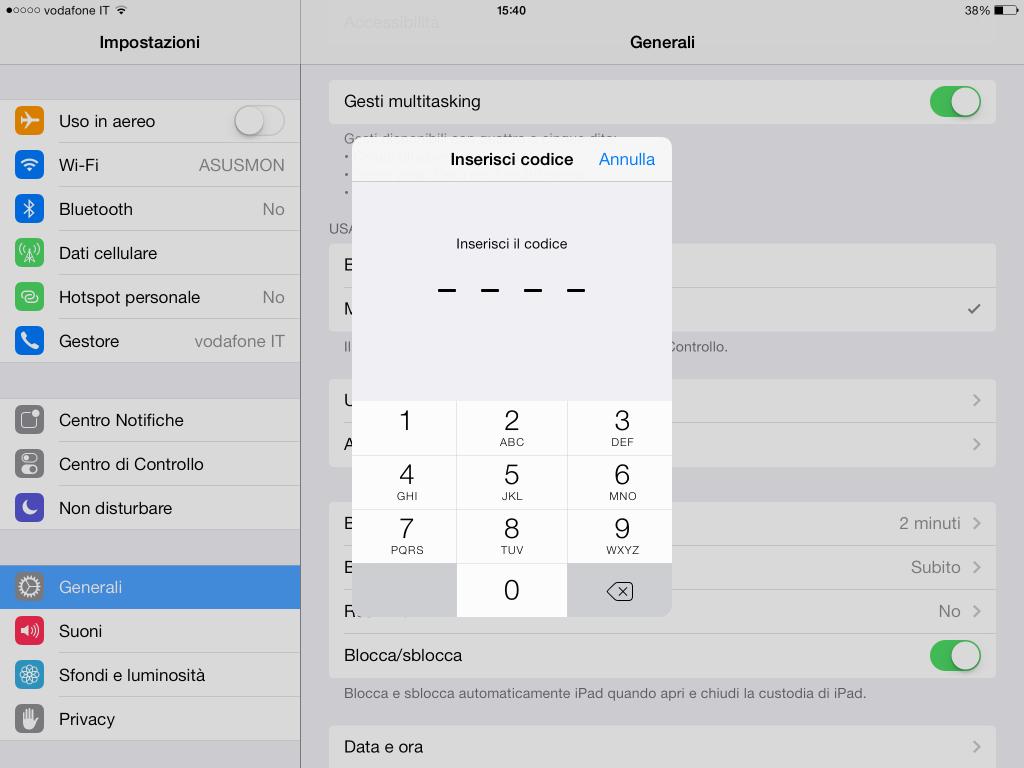 codice di blocco iOS