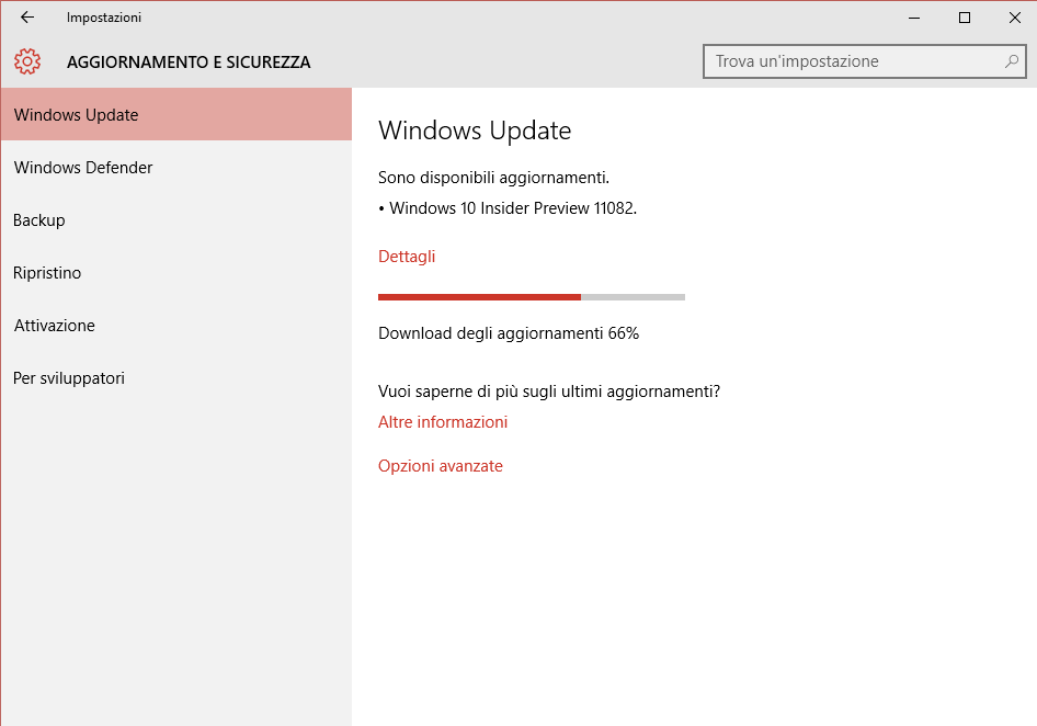 Aggiornamento Windows 10 da Windows Update