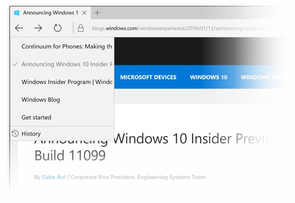 Microsoft Edge novità cronologia