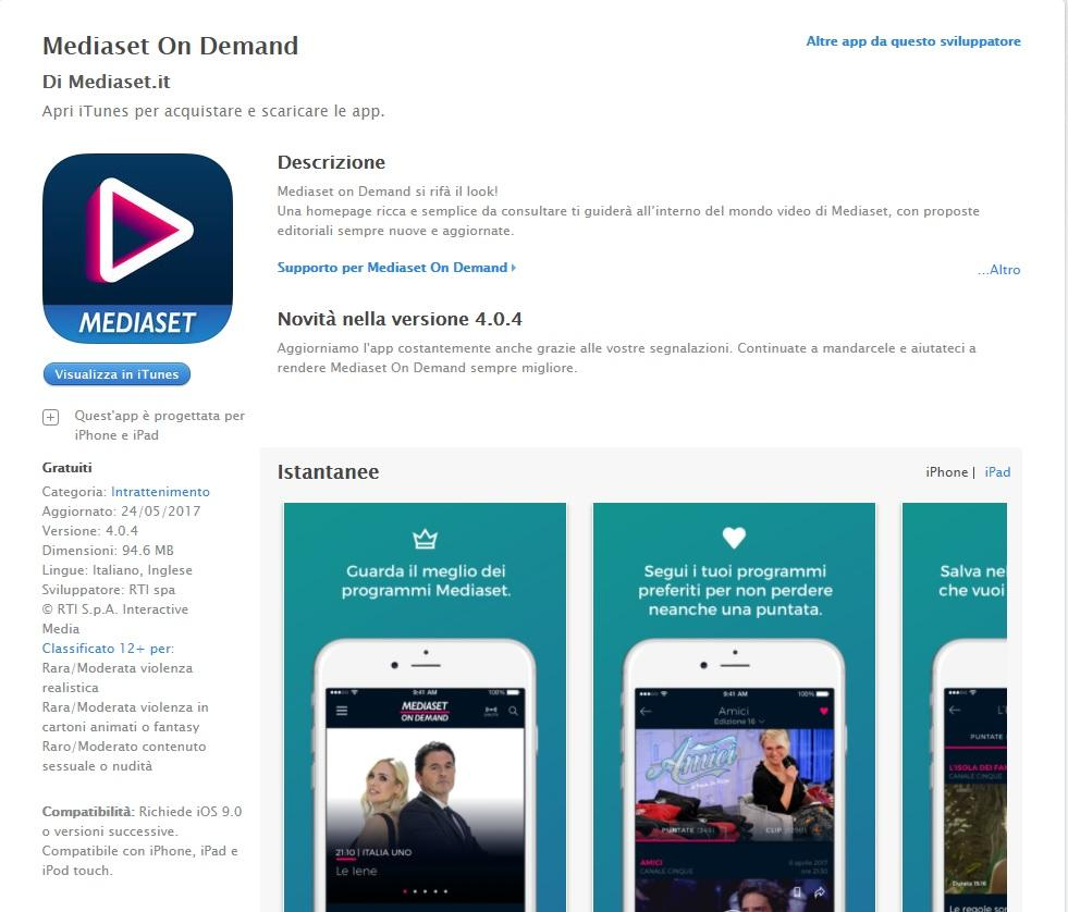 Video Mediaset iPhone iPad
