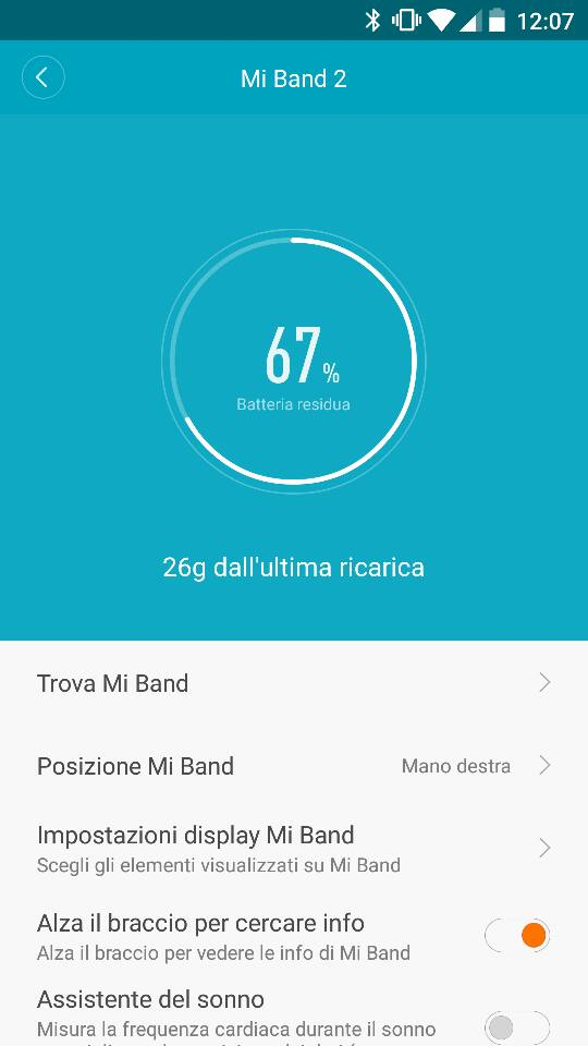 Mi Fit batteria Mi Band 2