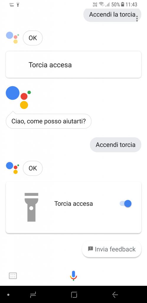 Accendi torcia con OK Google