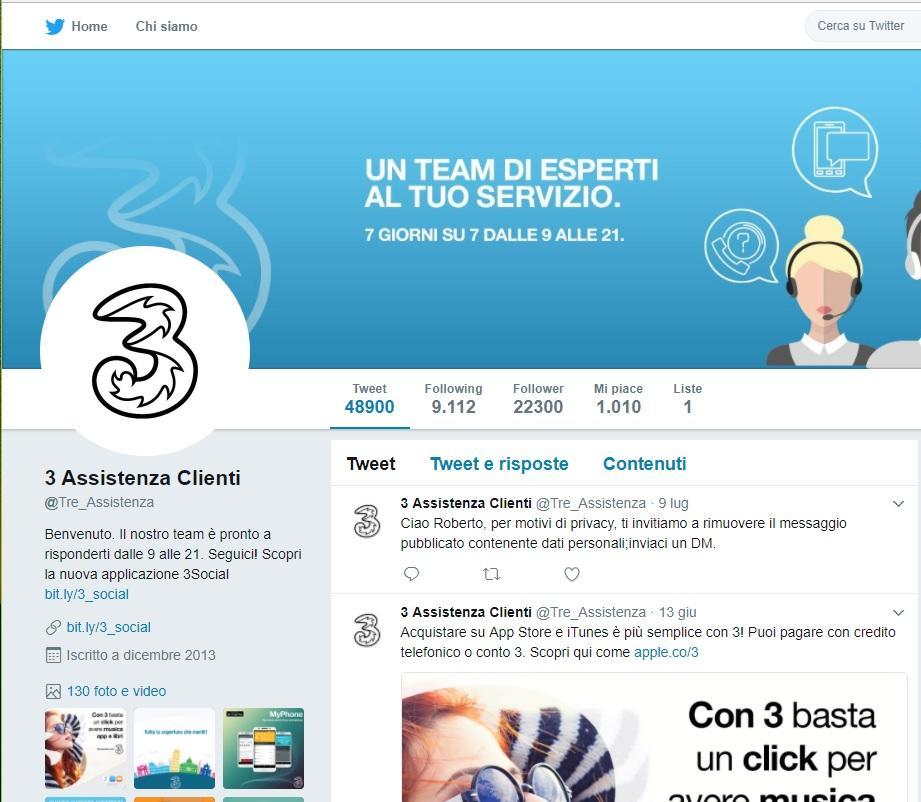 Contattare la 3 su Twitter