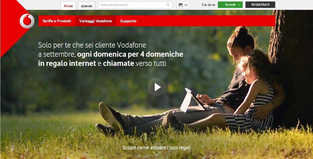 Domeniche in regalo Vodafone Settembre 2016