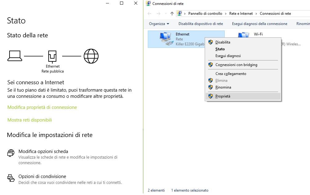 Modifica opzioni scheda Windows 10